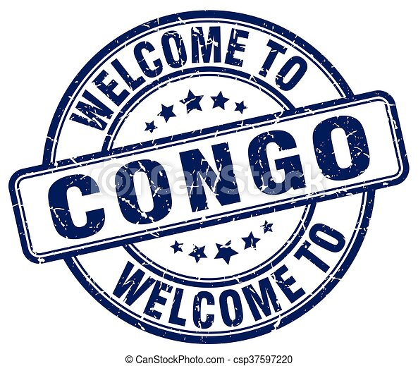 welcome to Congo blue round vintage stamp - csp37597220