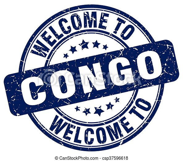 welcome to Congo blue round vintage stamp - csp37596618