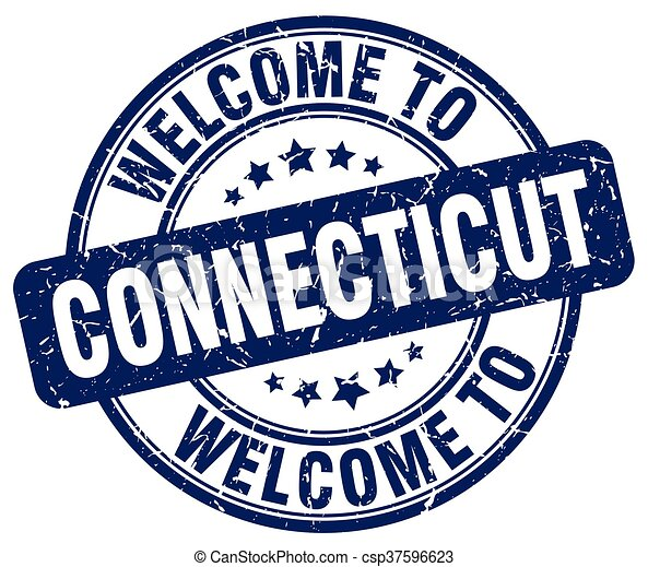 welcome to Connecticut blue round vintage stamp - csp37596623