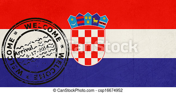 Welcome to Croatia flag with passport stamp - csp16674952