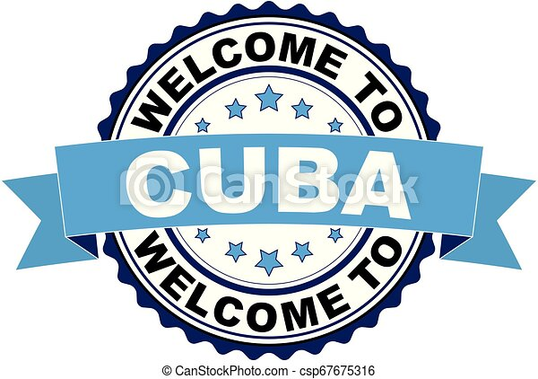Welcome to Cuba blue black rubber stamp - csp67675316
