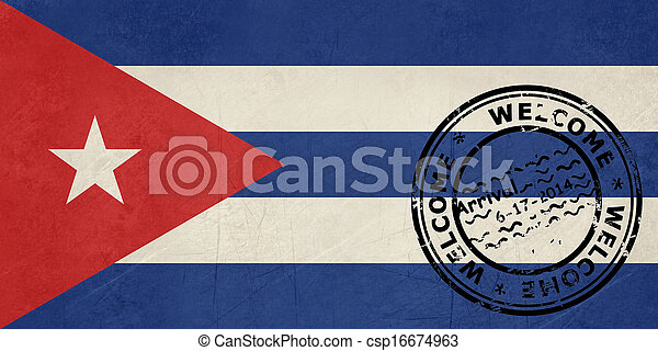 Welcome to Cuba flag with passport stamp - csp16674963