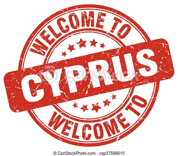 welcome to Cyprus red round vintage stamp - csp37596610