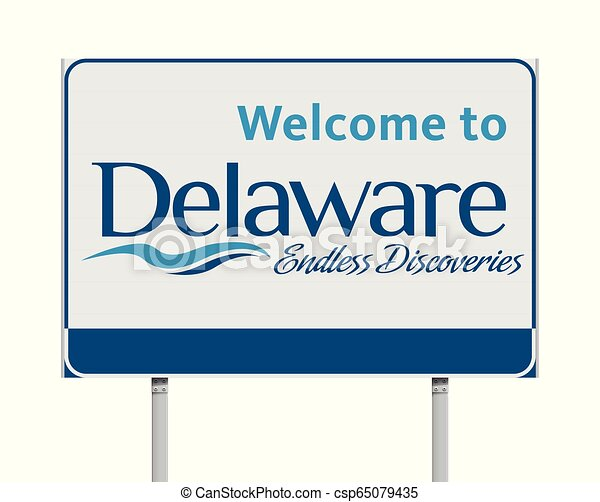 Welcome to Delaware road sign - csp65079435