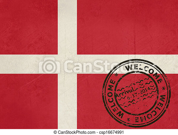 Welcome to Denmark flag with passport stamp - csp16674991