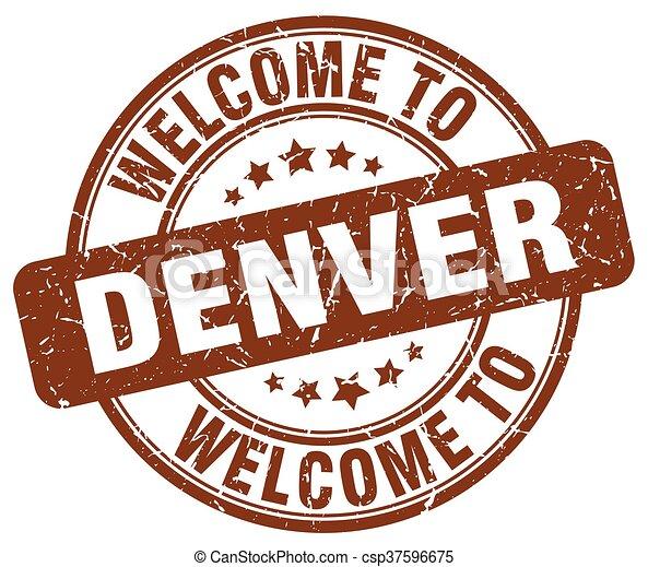 welcome to Denver brown round vintage stamp - csp37596675