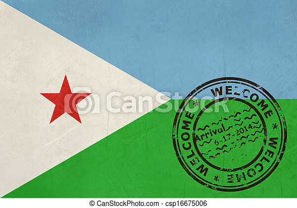 Welcome to Djibouti flag with passport stamp - csp16675006