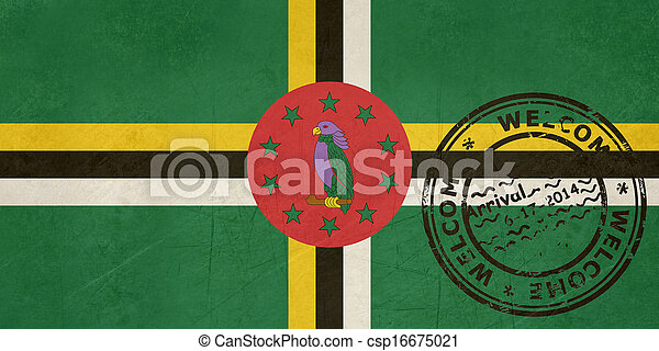 Welcome to Dominica flag with passport stamp - csp16675021