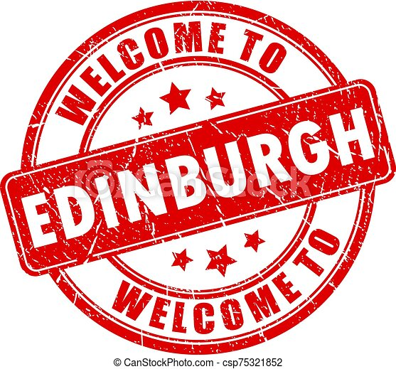 Welcome to Edinburgh red stamp - csp75321852