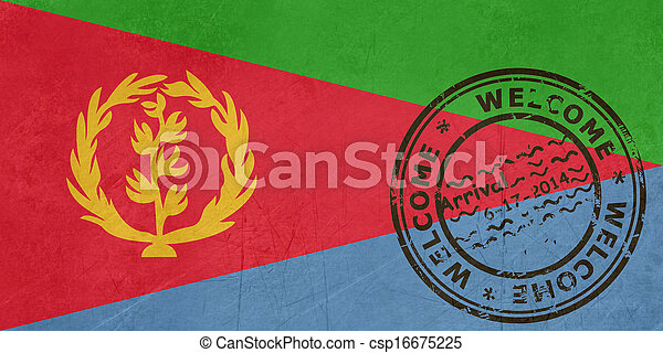 Welcome to Eritrea flag with passport stamp - csp16675225
