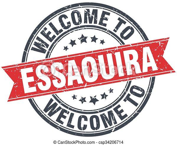 welcome to Essaouira red round vintage stamp - csp34206714