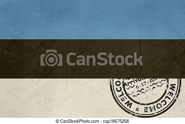 Welcome to Estonia flag with passport stamp - csp16675256