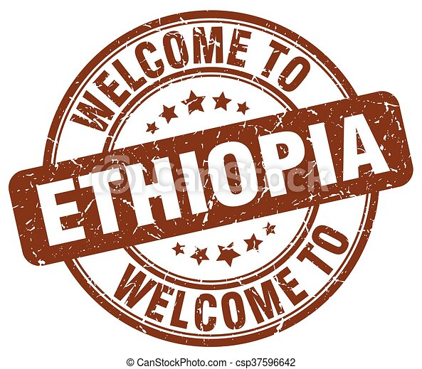 welcome to Ethiopia brown round vintage stamp - csp37596642