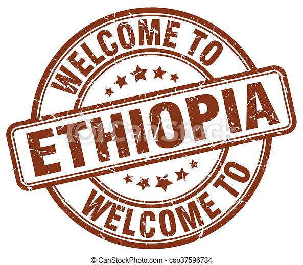 welcome to Ethiopia brown round vintage stamp - csp37596734