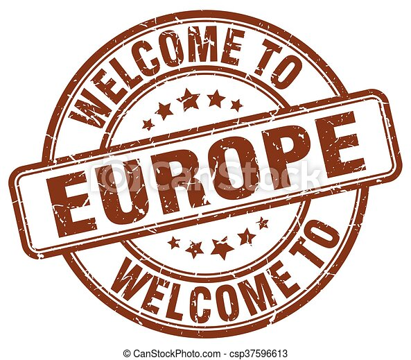 welcome to europe brown round vintage stamp - csp37596613