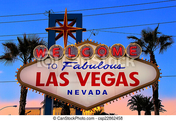 Welcome to Fabulous Las Vegas sign at night, Nevada - csp22862458