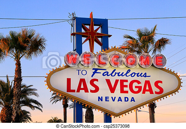 Welcome to Fabulous Las Vegas sign at night, Nevada - csp25373098