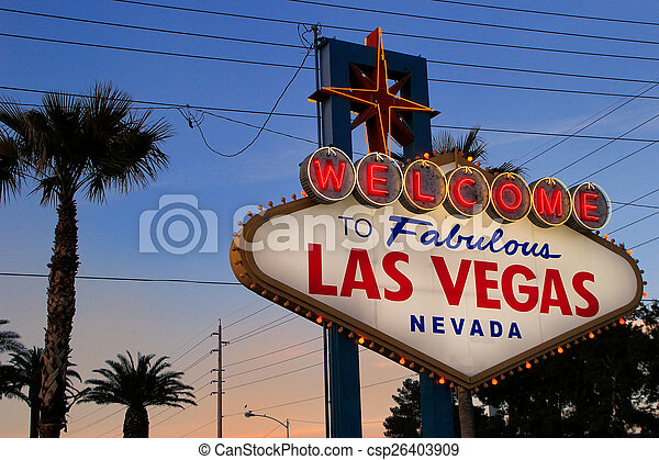 Welcome to Fabulous Las Vegas sign at night, Nevada - csp26403909