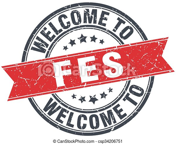 welcome to Fes red round vintage stamp - csp34206751