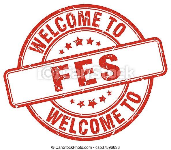 welcome to Fes red round vintage stamp - csp37596638