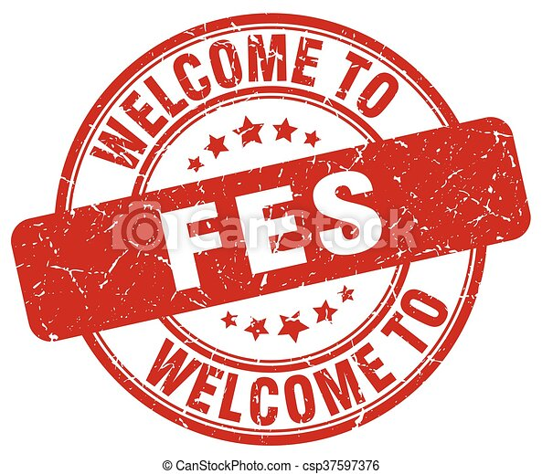 welcome to Fes red round vintage stamp - csp37597376