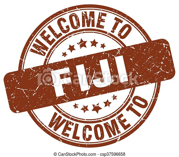 welcome to Fiji brown round vintage stamp - csp37596658