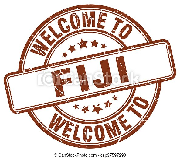 welcome to Fiji brown round vintage stamp - csp37597290