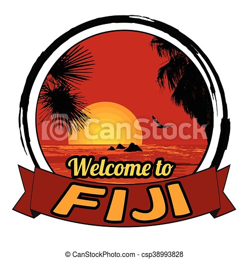 Welcome to Fiji stamp - csp38993828
