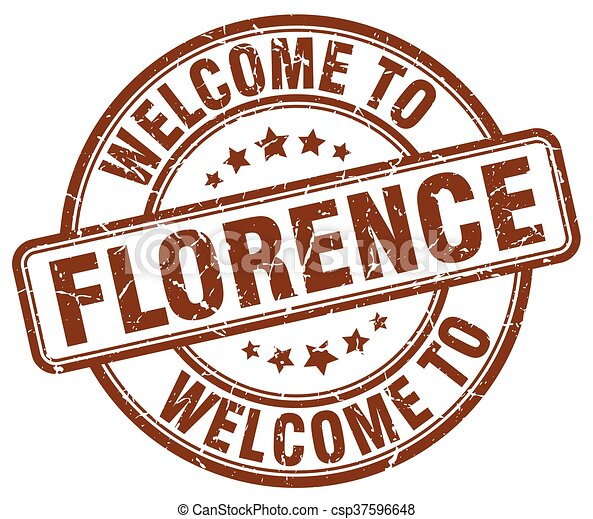 welcome to Florence brown round vintage stamp - csp37596648