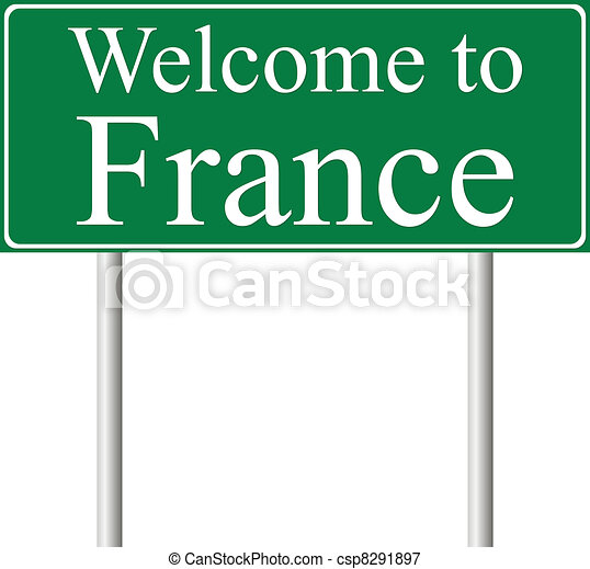 Welcome to France, concept road sign - csp8291897