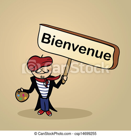 welcome to france people design trendy french man says welcome rh canstockphoto com French Country Clip Art French Bee Clip Art