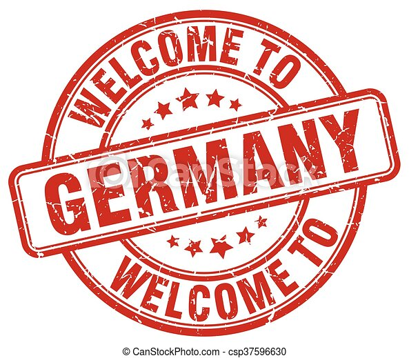 welcome to Germany red round vintage stamp - csp37596630