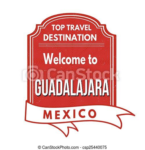 Welcome to Guadalajara stamp - csp25440075