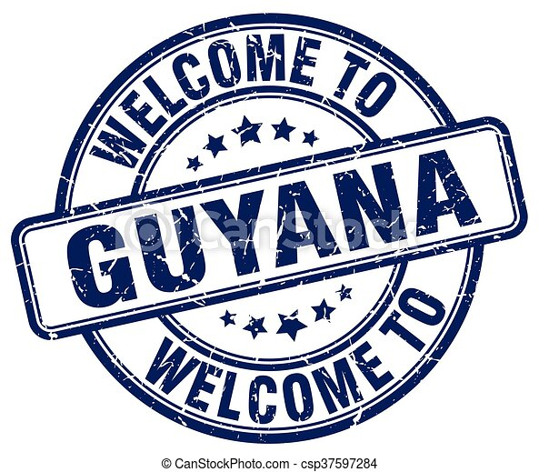 welcome to Guyana blue round vintage stamp - csp37597284