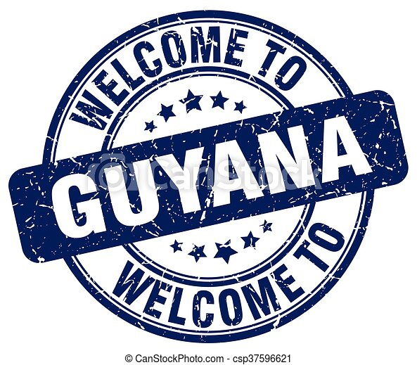 welcome to Guyana blue round vintage stamp - csp37596621