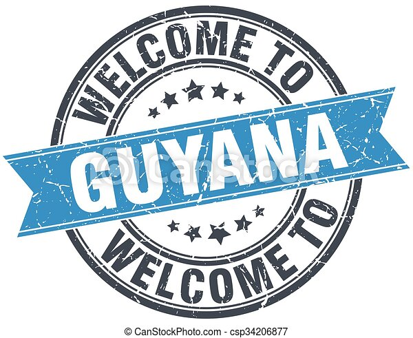 welcome to Guyana blue round vintage stamp - csp34206877