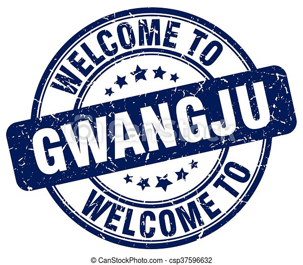 welcome to Gwangju blue round vintage stamp - csp37596632
