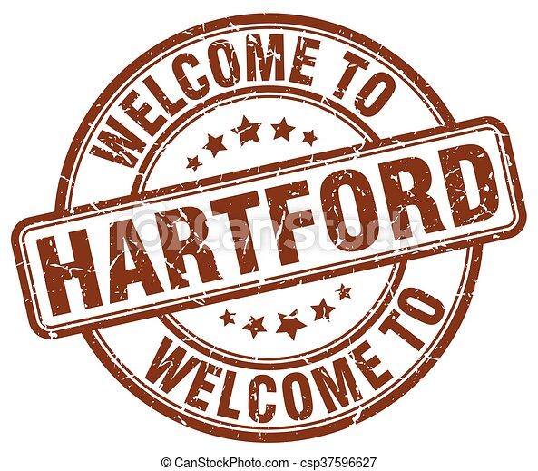 welcome to Hartford brown round vintage stamp - csp37596627