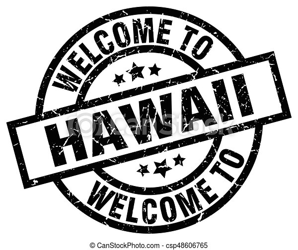 Welcome To Hawaii Black Stamp