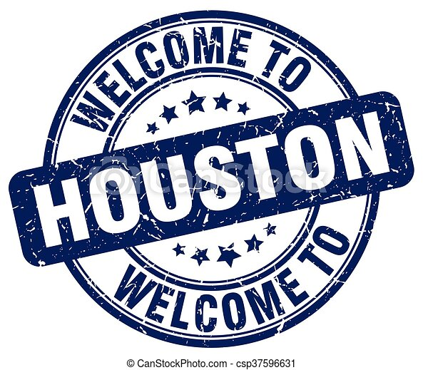 welcome to Houston blue round vintage stamp - csp37596631