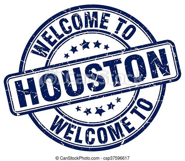 welcome to Houston blue round vintage stamp - csp37596617