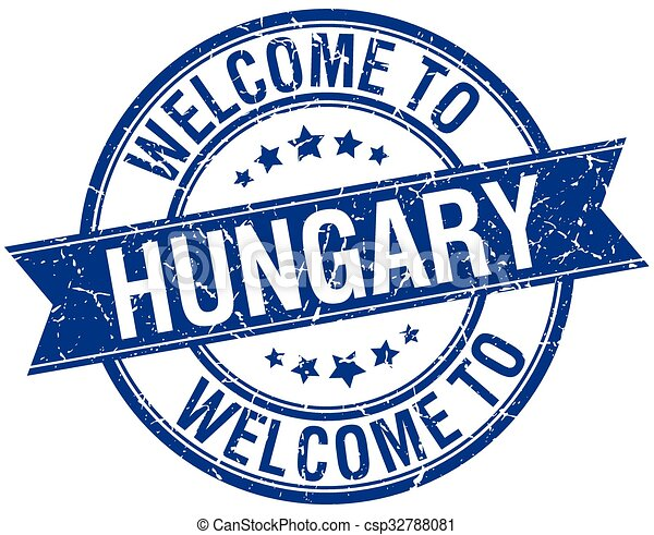 welcome to Hungary blue round ribbon stamp - csp32788081