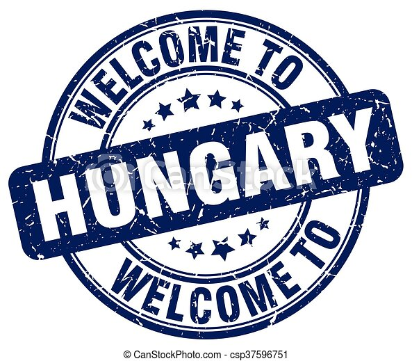 welcome to Hungary blue round vintage stamp - csp37596751