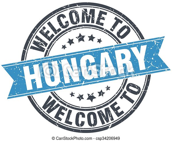 welcome to Hungary blue round vintage stamp - csp34206949