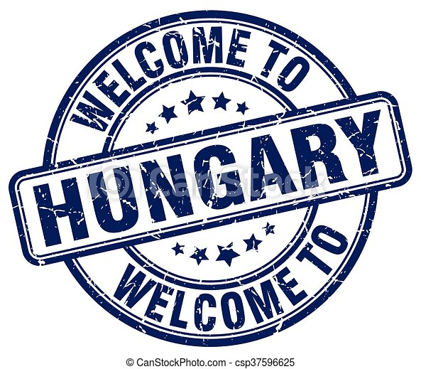 welcome to Hungary blue round vintage stamp - csp37596625