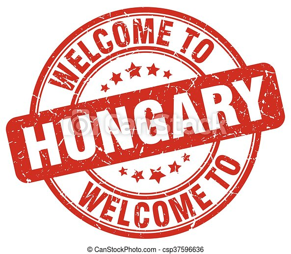 welcome to Hungary red round vintage stamp - csp37596636
