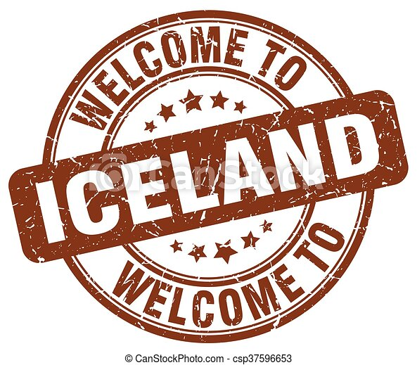 welcome to Iceland brown round vintage stamp - csp37596653