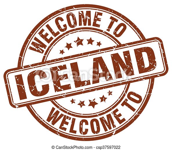 welcome to Iceland brown round vintage stamp - csp37597022