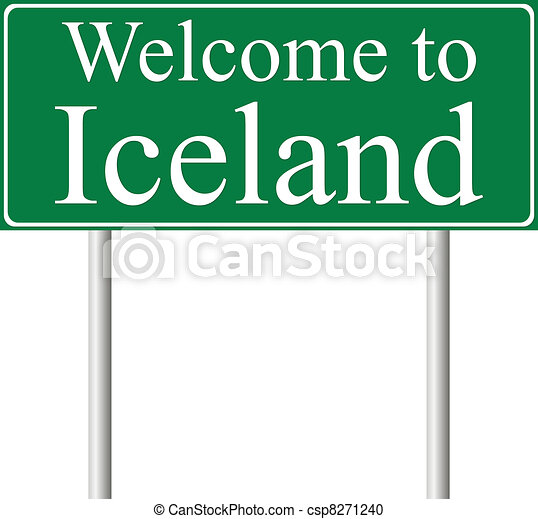 Welcome to Iceland, concept road sign - csp8271240