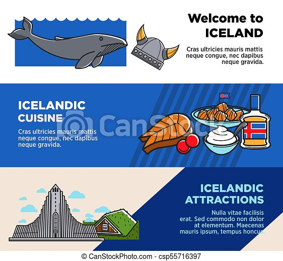 Welcome to Iceland, Icelandic cuisine and attractions posters - csp55716397